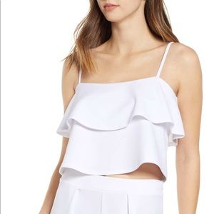 Leith Tiered Ruffled Camisole White Sz S